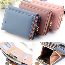 Coin Purse Card-Holder Short Wallet Women Female Black Small Mini Lady Fold Red-Color