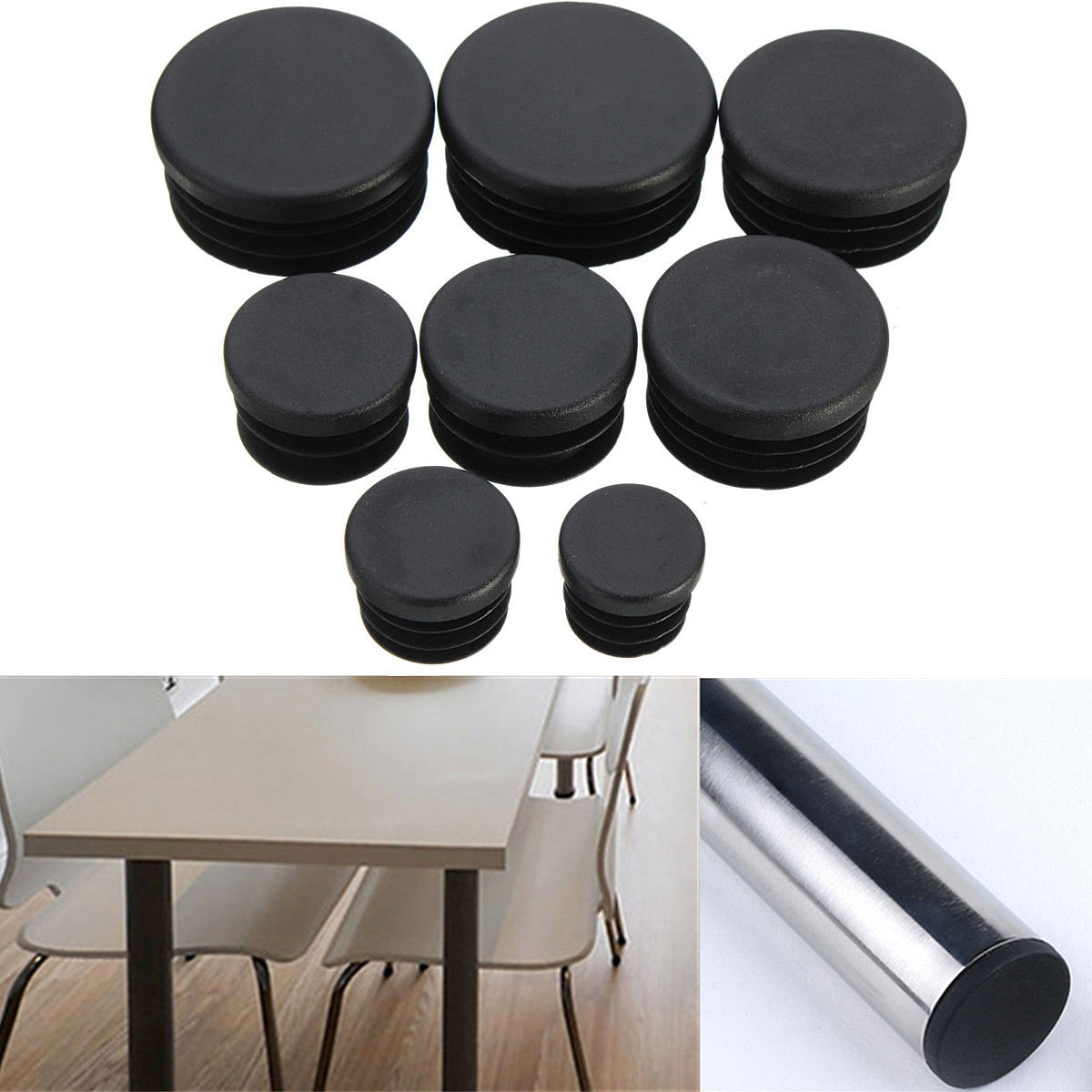 10pcs Round Plastic End Caps Insert Plugs 8 Sizes 16-35mm Furniture Leg Pipe Tube Plugs Black Furniture Accessories