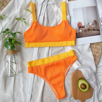 INGAGA High Waist Bikinis Swimsuits Bandeau Swimwear Women Splicing Biquini Beachwear Sports Ribbed Bathing Suits New 9