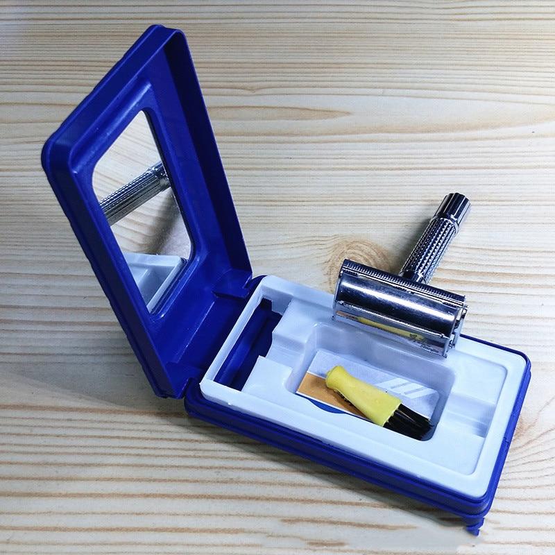 Safety Razor Double Stainless Steel Edge Barber Straight Men's Shaving Face Blades Shaving Machine Sharpener Brush Storage Box