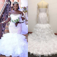Illusion Long Sleeve Wedding Dress Lace Appliques Ruffles Organza Skirt Bridal Gowns Custom Made