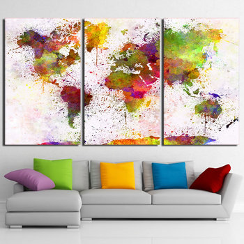 Home Decor Abstract Art Continent World Map Artistic Print Drawing Canvas Framed Wall Picture Spray Painting Decoration NY-7023D image