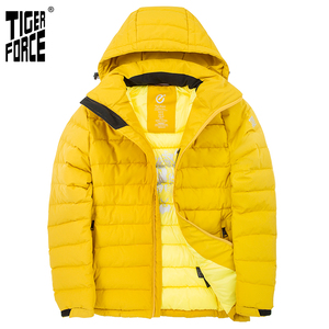 TIGER FORCE 2020 New Men's winter jacket for Men clothing Medium-long Hooded Jackets Thick yellow Casual Warm Parka coat 70769