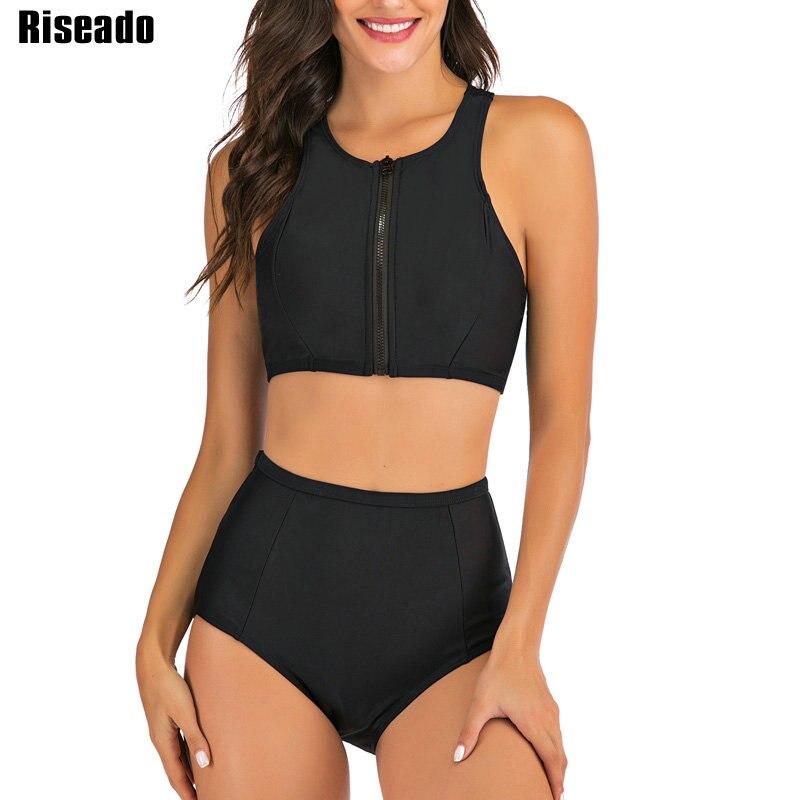 Riseado Sport Swimwear Women 2020 High Waisted Two-piece Swimsuits Black Bikinis Zipper Bathers Bathing Suits Summer Beach