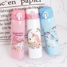 500ml Cute Cartoon Unicorn Water Bottle Stainless Steel Doub