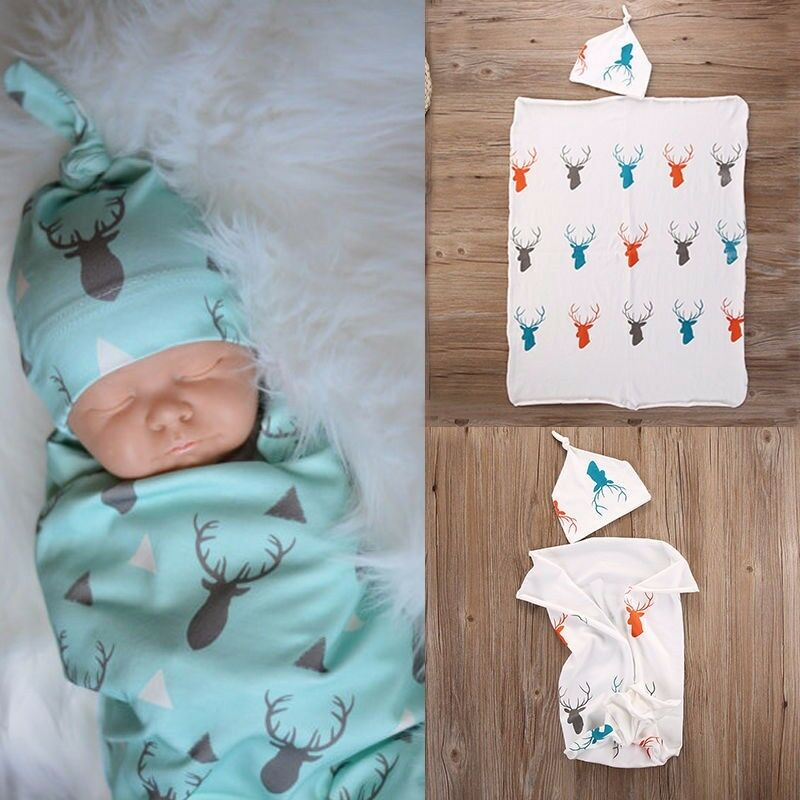 Cute Convenience Toddler Infant Swaddle Newborn Baby Boy Girl Deer Printed Soft Stretch Wrap Swaddle Blanket Bath Towel 80*65CM