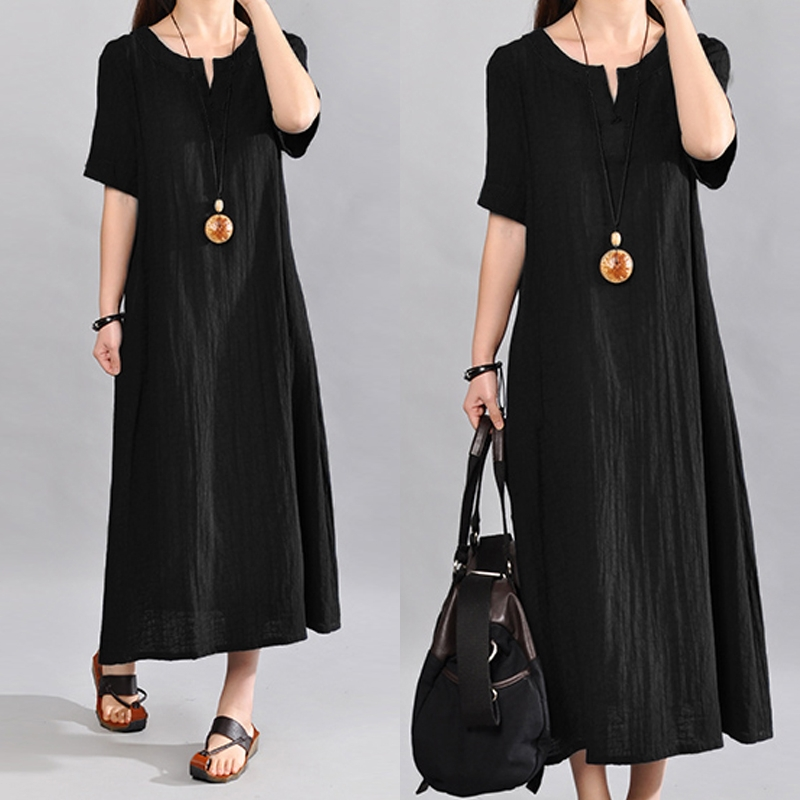S-5XL Celmia Women Vintage Linen Dress 2020 Summer V Neck Short Sleeve Solid Pockets Casual Loose Midi Dress Oversized Vestidos