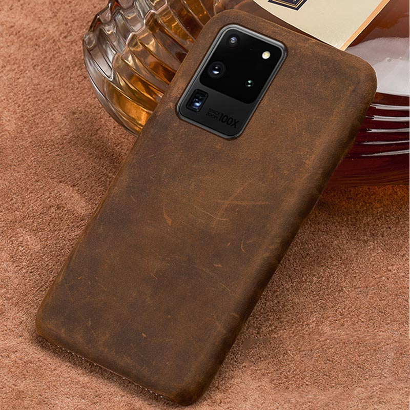 Genuine PULL-UP Leather Smartphone Phone Case For Samsung Galaxy S20 Ultra S20 S20 Plus Note 10 S10 Plus A50 A51 S9 Back Cover