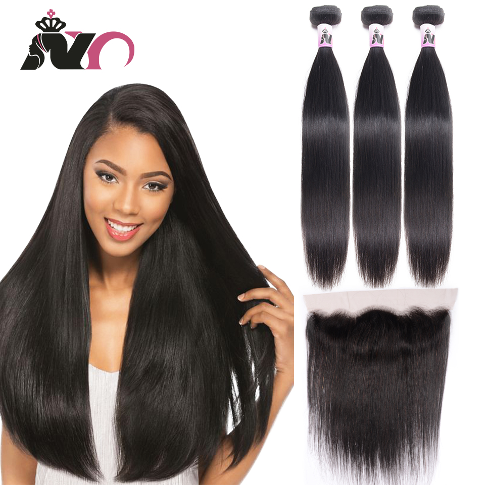 NY Non-Remy Straight Hair Bundles With Frontal 3 Bundles With 13*4 Closure Ear To Ear Brazilian Weave Natural Color Human Hair