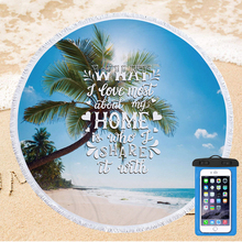 Summer Beach Towel with Waterproof PVC Phone Case Set Portable Outdoor Travel Swimming Bath Towel Microfiber Beach Mat