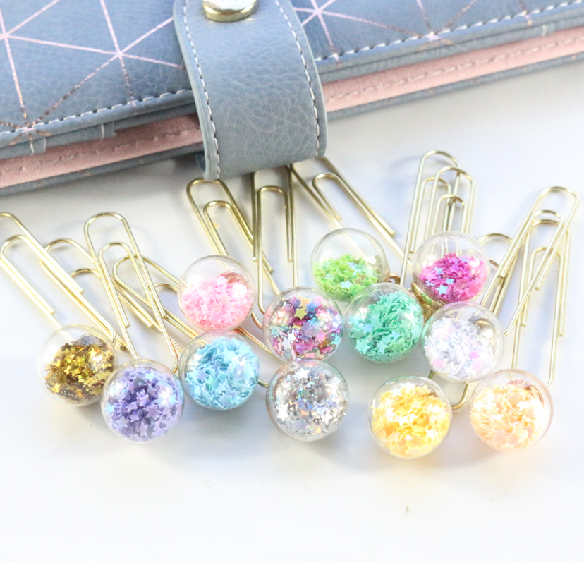 Domikee Cute Creative Sequins Metal Office School Paper Clips Bookmark Fine Student Memo Clips Set Stationery Supplies