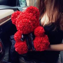 Оптовая продажа, Большой Мишка из плюшевой розы в коробке, роскошный Мишка из роз, искусственные цветы, подарок на Рождество и День святого В...