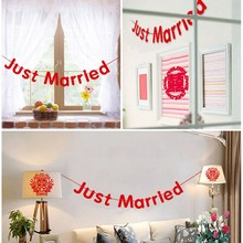 Just Married Bunting Garland Wedding Party Decoration Banner Happy Photo Props Romantic Wall Hanging