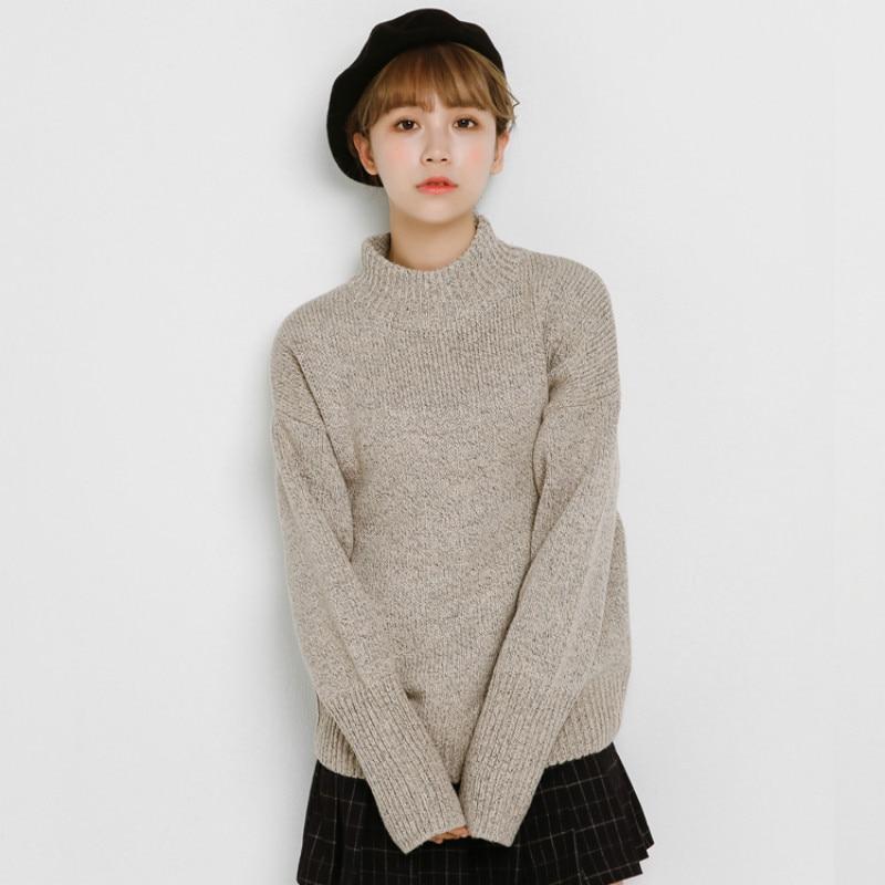Осенне зимний женский свитер с длинным рукавом, пуловер с высоким воротником, 2020 Harajuku, тонкие трикотажные топы, женские толстые свитера|Водолазки|   | АлиЭкспресс