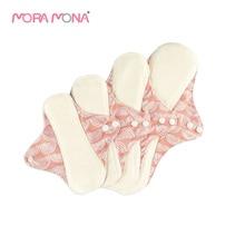 Mora Mona 4 Pcs/Pack Reusable Mama Cloth Menstrual Pads Panty Liner Bamboo Fiber