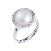 100% Genuine Natural Pearl Adjusting Ring 925 Sterling Silver Jewelry White 12mm Ladies Boutique Gift