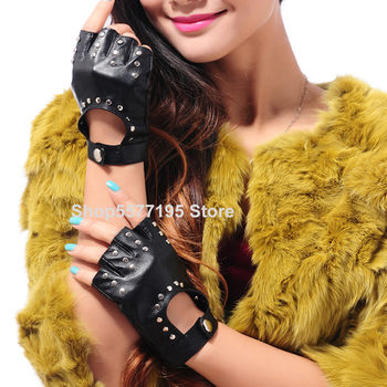 2020 New Women Rivets PU Leather Gloves Semi-Finger Mens Rivet Belt PU Gloves Sexy Cutout Fingerless Gloves R5658 women rivets leather gloves semi finger mens rivet belt pu gloves sexy cutout fingerless gloves