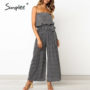 Image 3 - Simplee Off shoulder sexy jumpsuit women elegant Sashes jumpsuit long rompers Summer solid leopard print overalls playsuit 2019