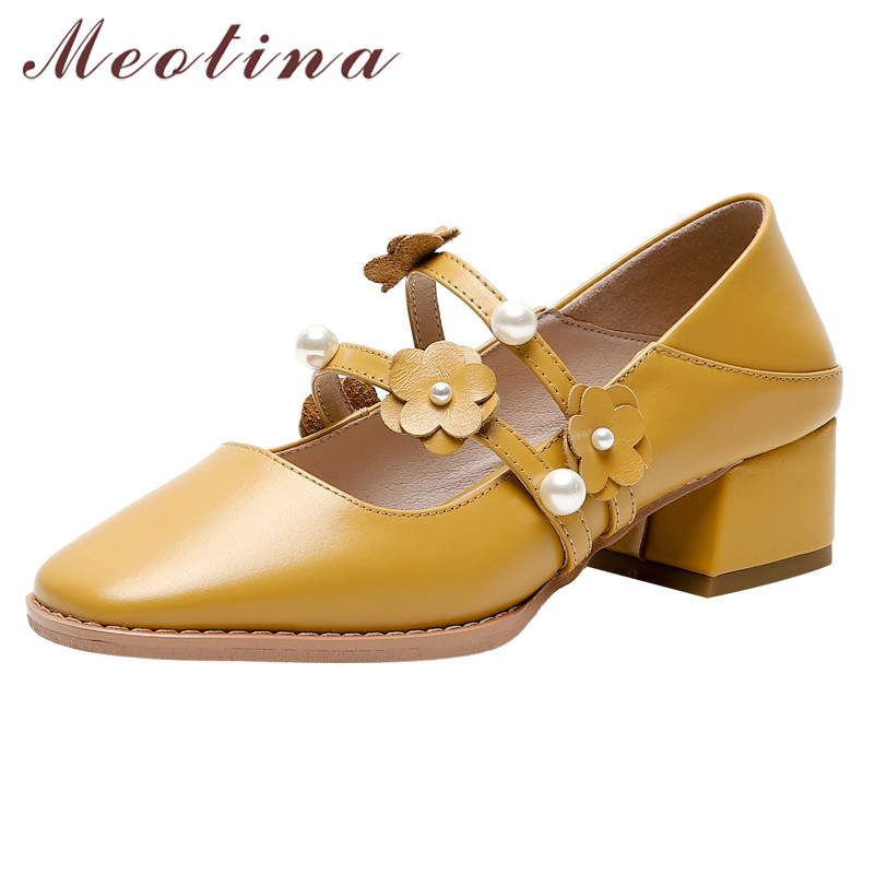 Meotina High Heels Women Pumps Natural Genuine Leather Thick Heel Mary Janes Shoes Cow Leather Flower Square Toe Shoes Ladies 40