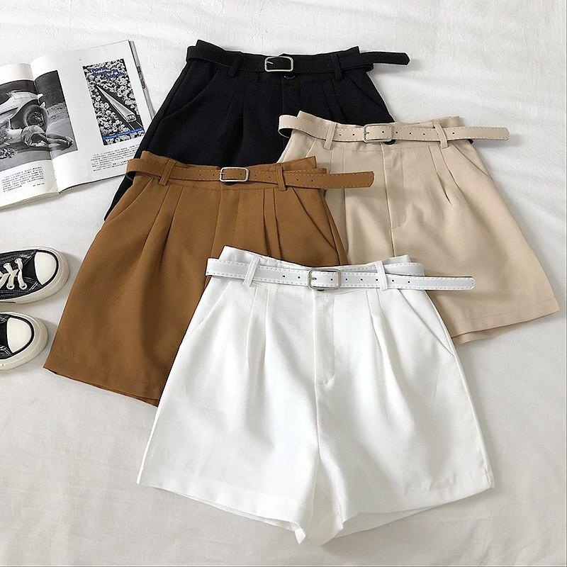 Solid Wide Leg Shorts For Women's 2020 Summer High Waist Belt Pocket Shorts Casual Ladies Loose Shorts Female Bottoms Faldas