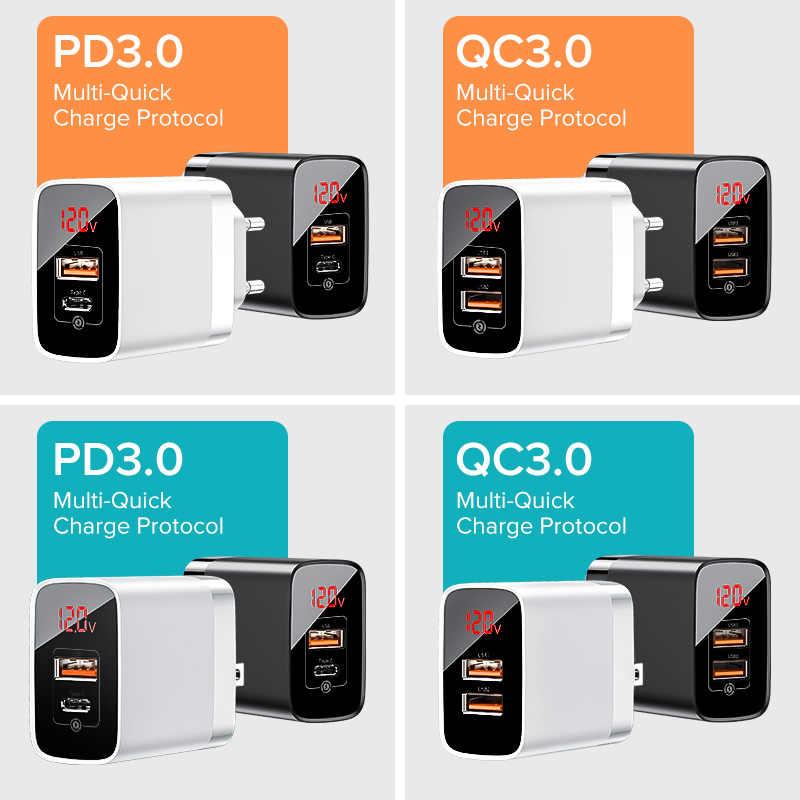 Baseus شاشة ديجيتال سريعة تهمة 3.0 شاحن يو اس بي 18W PD 3.0 سريع شاحن آيفون 11 برو شاحن الهاتف المحمول USB C شاحن