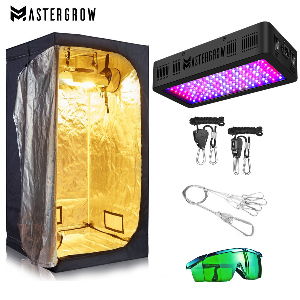 Grow Tent Room Complete Kit Hydroponic Growing System Double Switch 600W 900W 1200W LED Grow Light Combo Multiple Size Dark Room