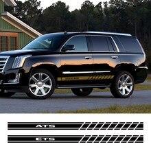 2 autocollants à rayures pour jupe latérale de porte de voiture, en vinyle, pour Cadillac ATS cds Escalade XTS XT4 XT5 CT6, accessoires de décoration automobile