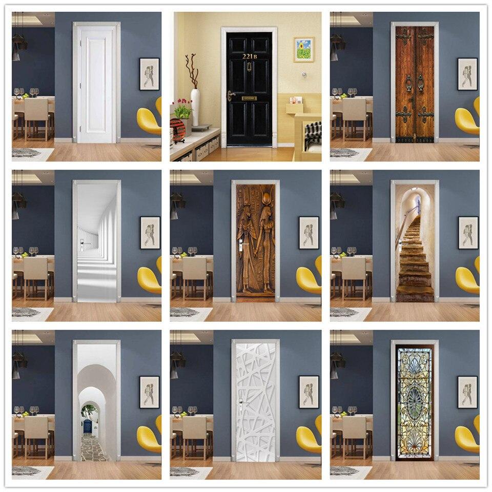 Custom Size 3D Wallpaper Door Sticker Self-adhesive PVC DIY Poster De Portes For Bedroom Home Design Door Decoration Decal Mural