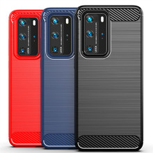 Luxury Case for Huawei P40 Pro Cover Carbon Fiber Texture Brushed Case for Huawei P40 Pro+ P40 Lite Shockproof phone Cover