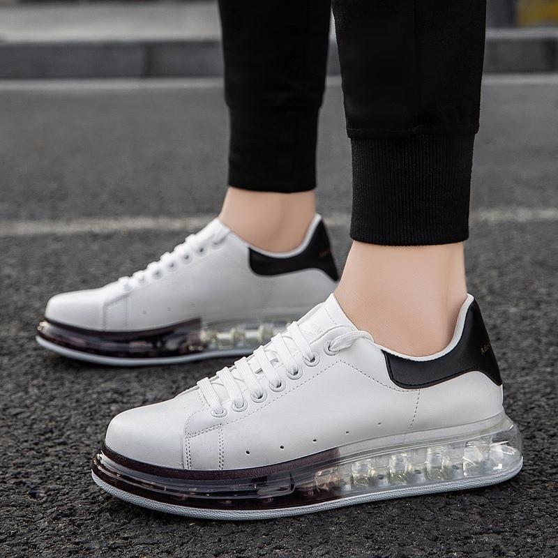 Stylish Skateboarding Shoes Unisex Classic White Shoes Men Women Leisure Waterproof AIR Cushion Skateboard Shoes Flat Sneakers