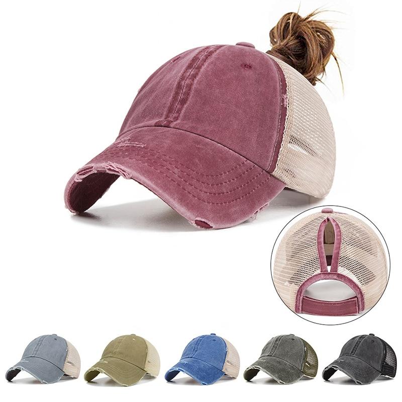 Summer Women's Mesh Ponytail Baseball Caps Fashion Snapback Caps For Female Sport Hat Ladies Bone High Quality Casquette Gorro