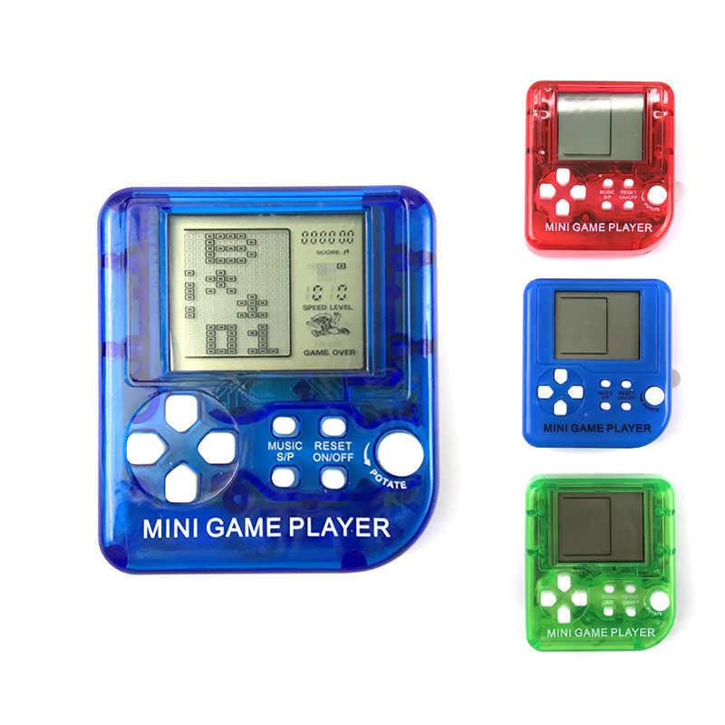 1PCs 미니 클래식 게임 기계 키 체인 테트리스 비디오 게임 휴대용 게임 플레이어와 어린이 레트로 향수 게임 콘솔