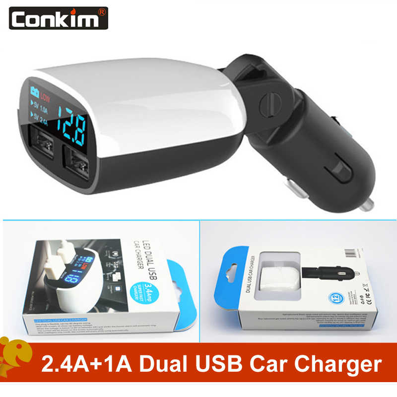 US 5V 2.4A Dual USB Car Charger Adapter 2 Port LED Display For Mobile Phone GPS