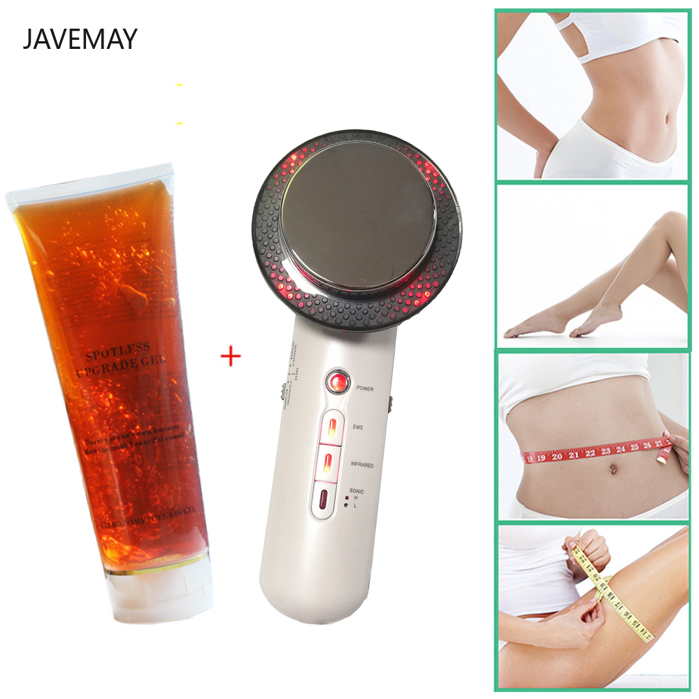 Body Massager + Slimming Gel RF Infrared 1Mhz Ultrasound EMS Cavitation Machine Fat Burner Breast Lift Beauty Bar Weight Loss