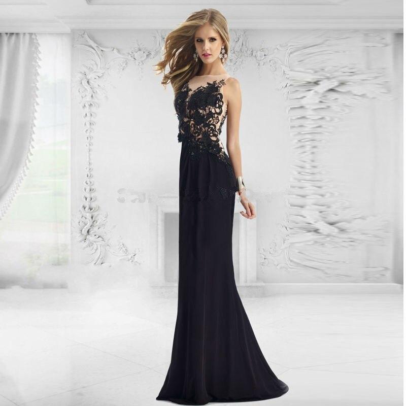 Robe de soirée longue soirée robe formelle longue fête dentelle noire Appliques perlée Illusion dos sirène mère robes de mariée