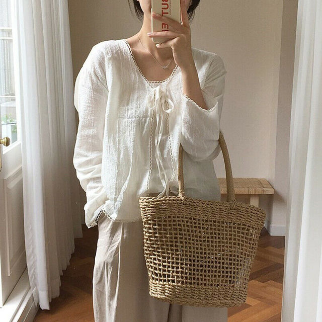 Women Straw Shopping Basket Beach Tote Summer Shoulder Bag Handbag 4