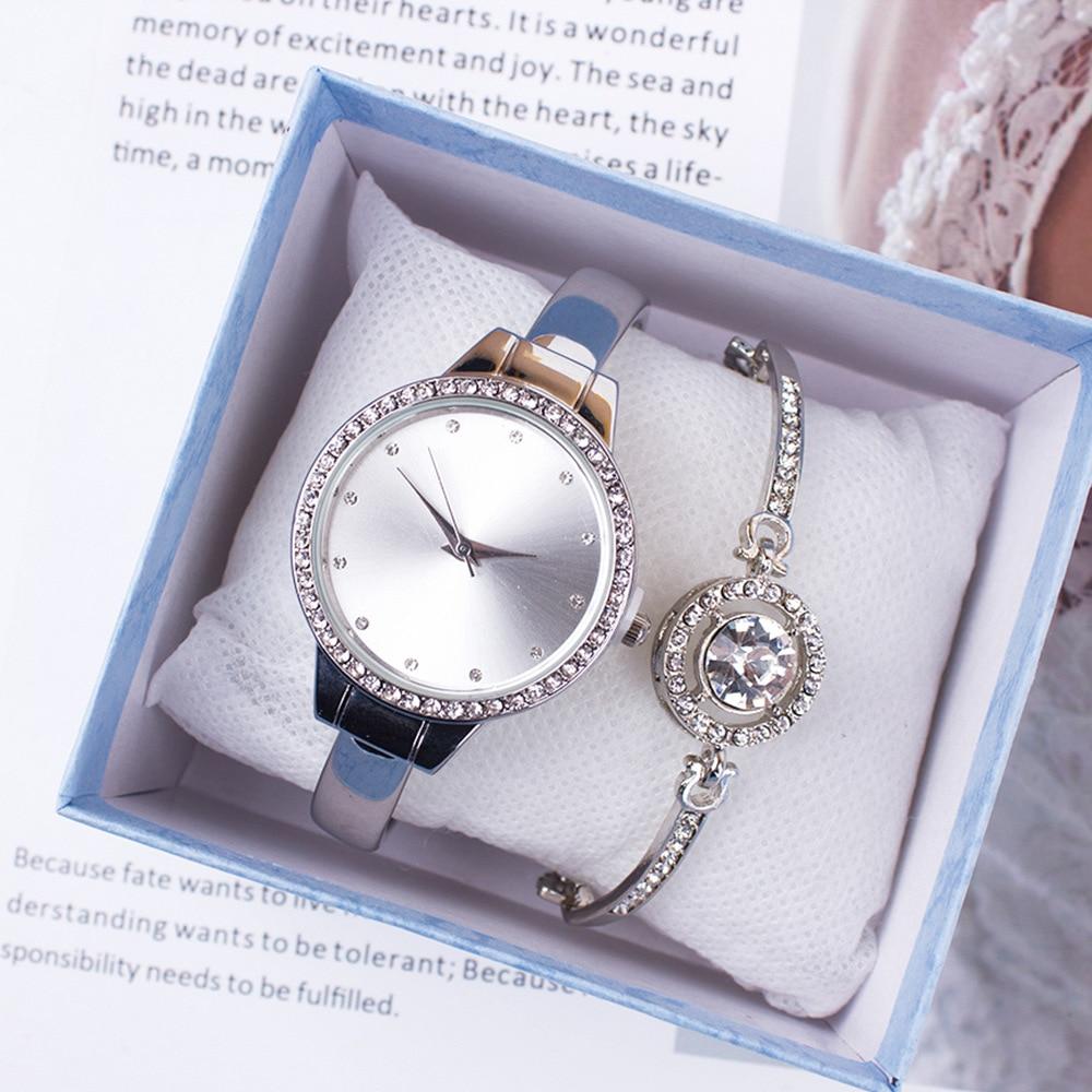 2pcs Set Fashion Silver Women's Watch and Bracelet Crystal Quartz Wrist Watch Bracelet Ladies Clock zegarek damski Reloj Mujer