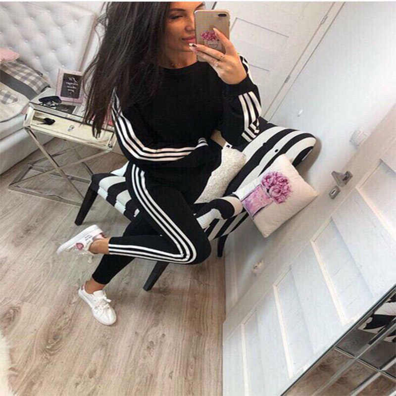 2019 Sexy Women's Clothing New Sports and Leisure Sports Suit Fashion Running Sportswear Long Sleeve Pants  2piece set women