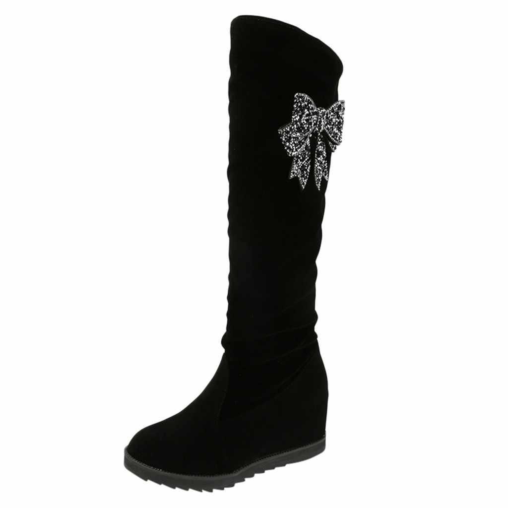 โบว์รองเท้าผู้หญิงสบายๆบนเข่ายืดหยุ่นยาวรองเท้า Flock เซ็กซี่กลางหลอด Wedge ฤดูหนาวรองเท้า chaussures femme