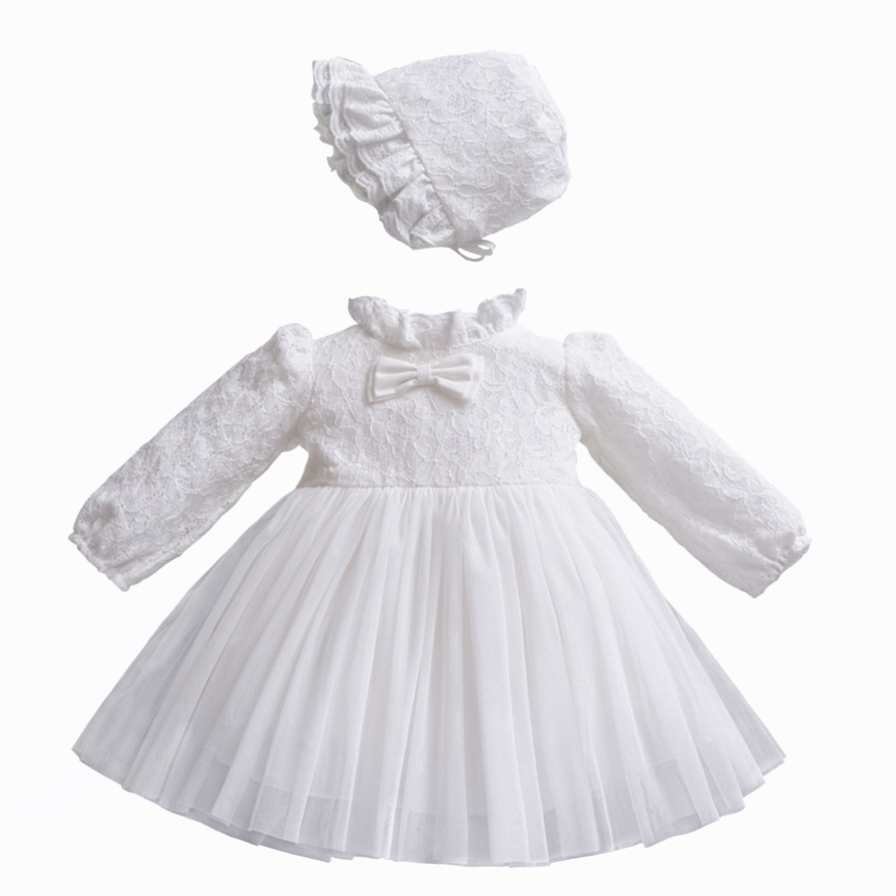 Hot Sales 0-1-Year-Old Newborns Dress Cotton Inner Babies' Dress Long-sleeved White Princess Dress Hat