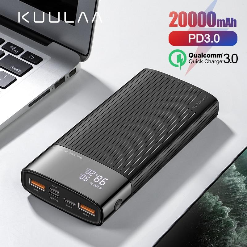 Kuulaa power bank 20000 mah usb tipo c pd carregamento rápido + carga rápida 3.0 powerbank 20000 mah bateria externa para xiaomi iphone
