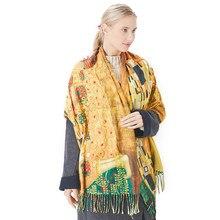 Neue Kaschmir Schal Frauen Digitaldruck Pashmina Schal Wraps Gustav Klimt Ölgemälde Der Kuss Bandana Femme Foulard Quasten