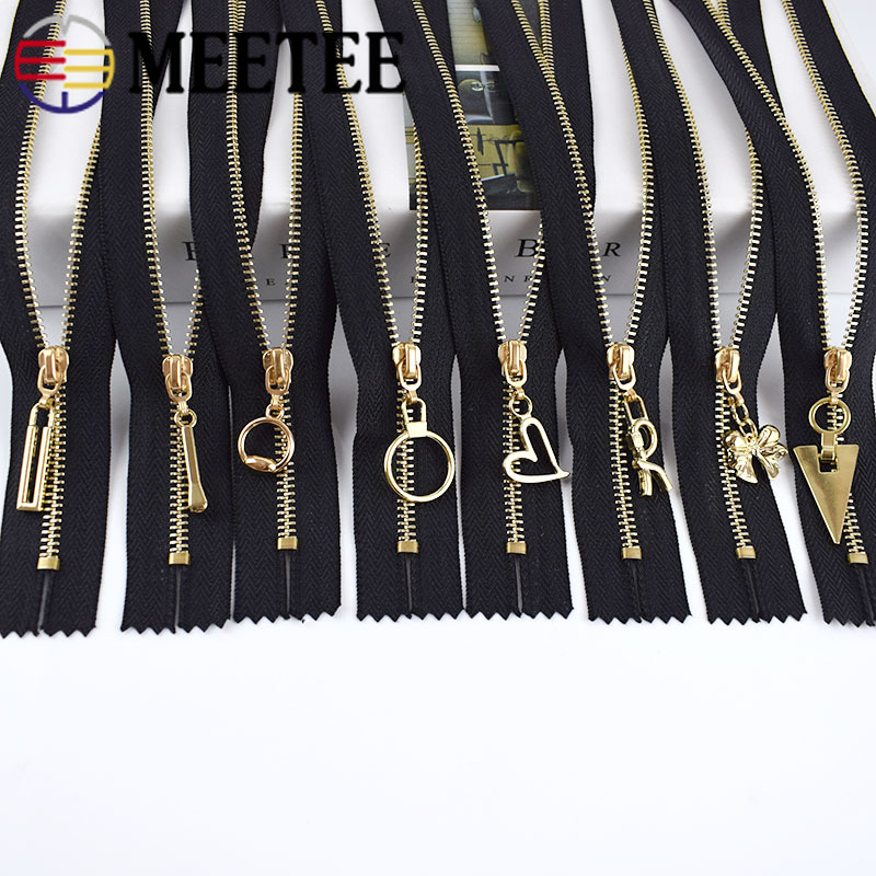 Meetee 5/10pcs 15/20/30cm 3# Metal Zipper Close-End Black White Zippers DIY Bag Purse Wallet Shoes Garment Zip Sewing Accessory