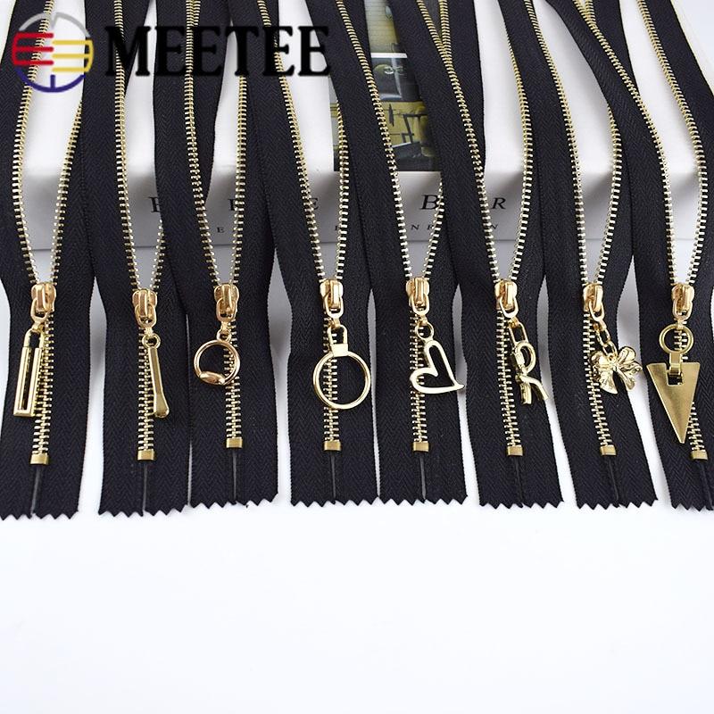 Meetee 5/10 pçs 15/20/30cm 3 # zíper de metal close-end preto branco zíperes diy bolsa carteira sapatos vestuário zip costura acessório