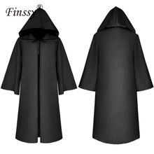 Cadılar bayramı ölüm sihirbazı pelerin Cosplay kostüm keşiş kapşonlu elbiseler pelerin pelerin Friar ortaçağ rönesans rahip çocuklar yetişkin