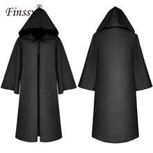 Halloween Death Wizard Cloak Cosplay Monk Hooded Robesเสื้อคลุมCape FriarยุคกลางRenaissance Priestเด็กผู้ใหญ่