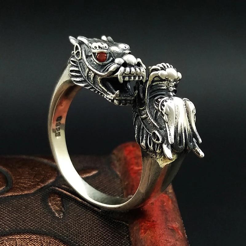 tamaño ajustable Anillo Plata 925 Dragón