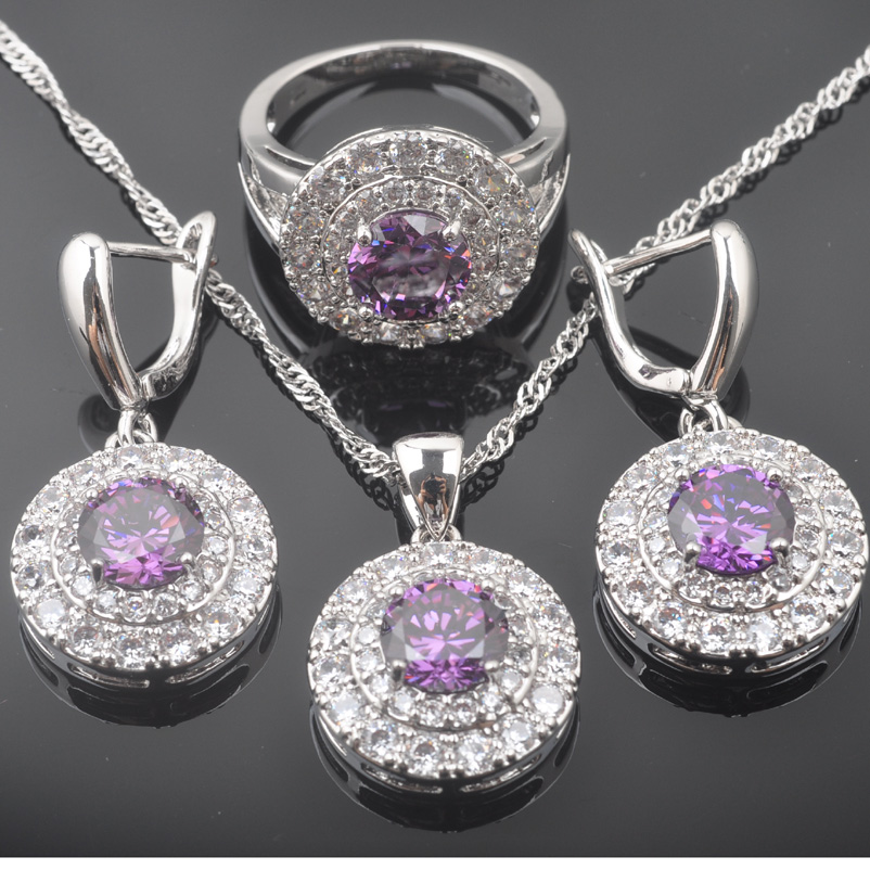 Russian Style Jewelry Sets Natural Purple Crystals Pendants Necklace Earring Ring Bracelet for Women Luxury Party Jewelry