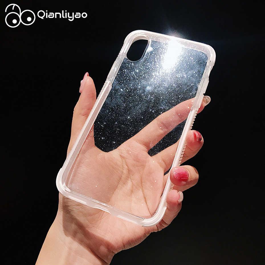 Qianliyao блестящий чехол для телефона iPhone X XR XS Max 8 7 6 6S Plus 11 Pro Max прозрачный мягкий ТПУ противоударный чехол