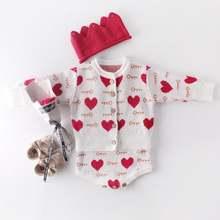 Для маленьких девочек в форме сердца трикотажный комбинезон